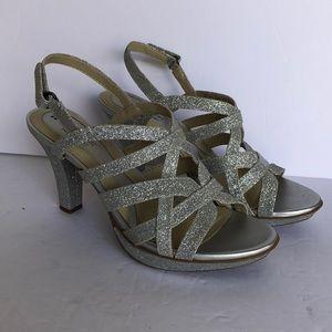 Naturalizer N5 Comfort Silver Sparkle Heels